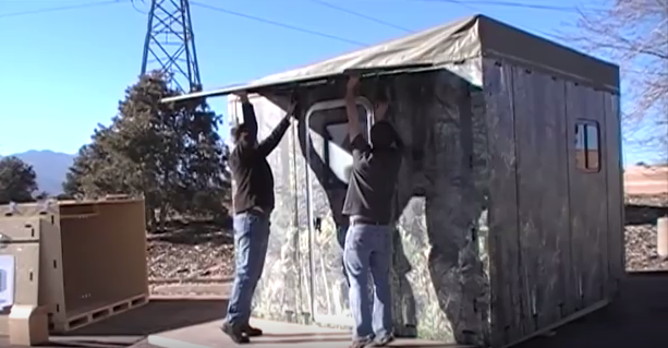 Portable Bug Out Shelters : Modular bug out shelter can be assembled by people in